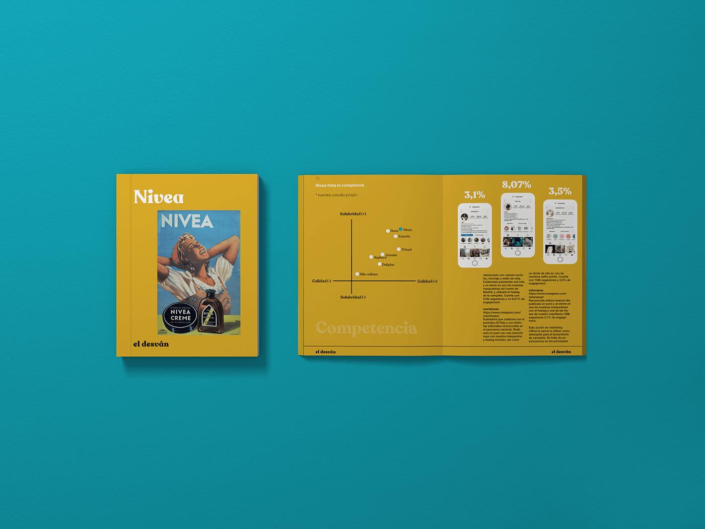 Image may contain: book mocup whith infography, nivea marketing campain. Libro de memoria infografia