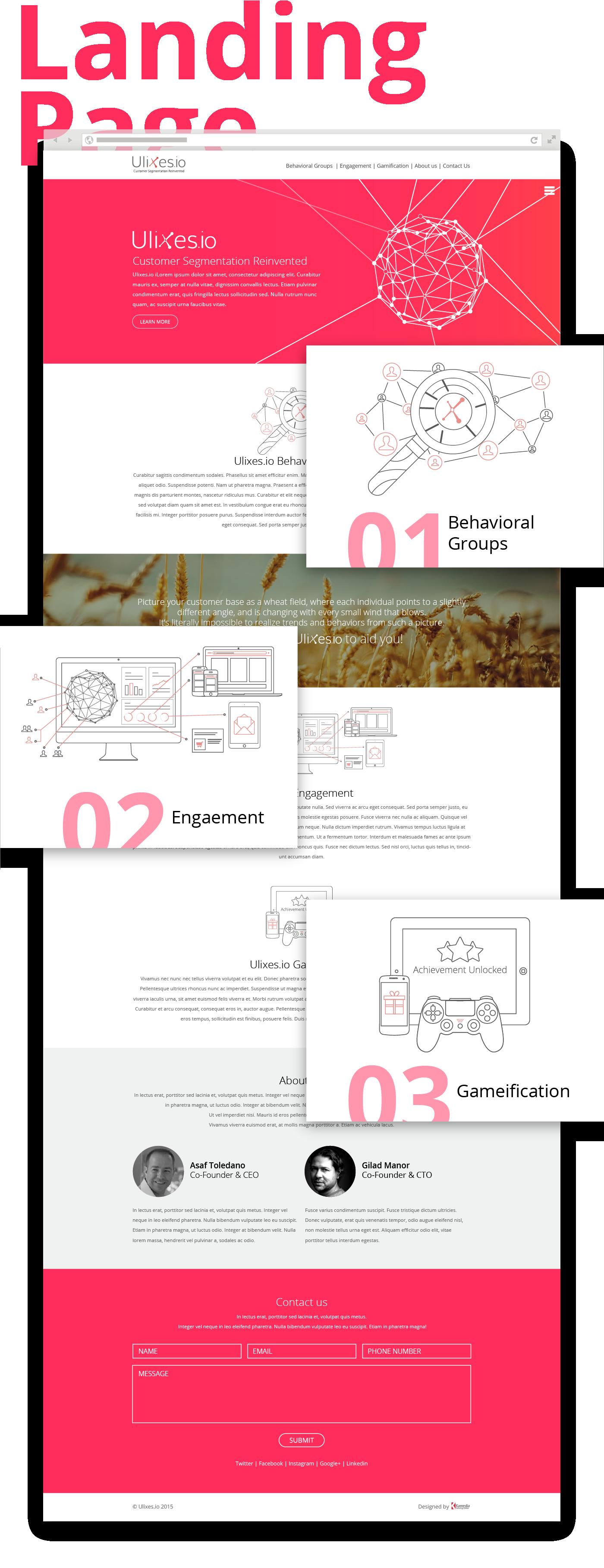web app,landing page,analytics,segmentation,engaement,Gameification