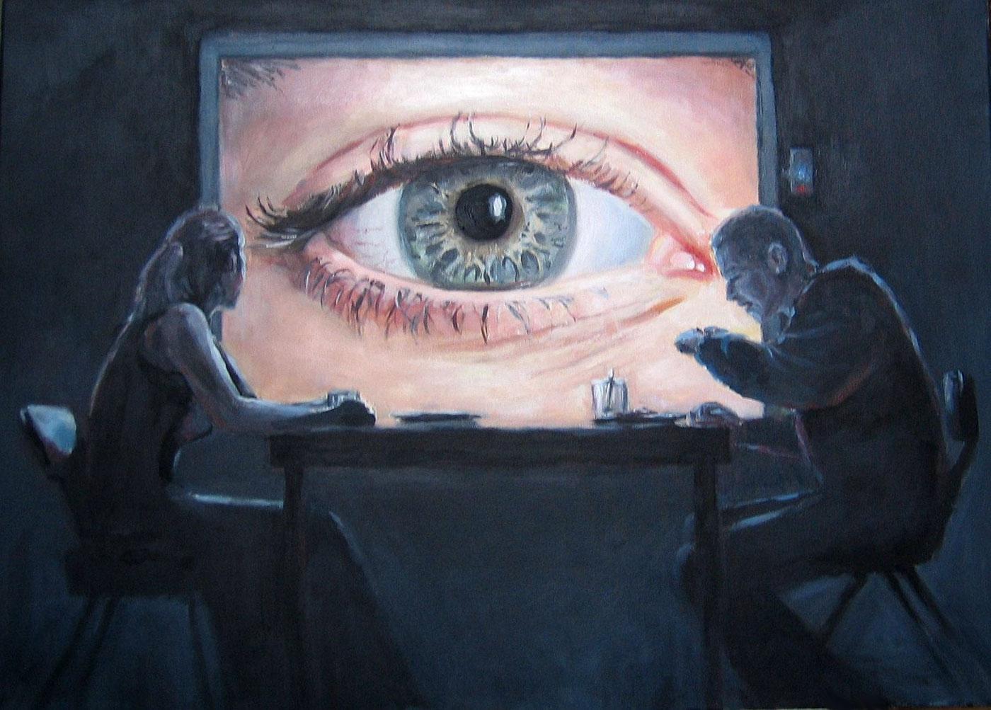 slazinski art paint acrylics canvas traditional Window eye night blue people
