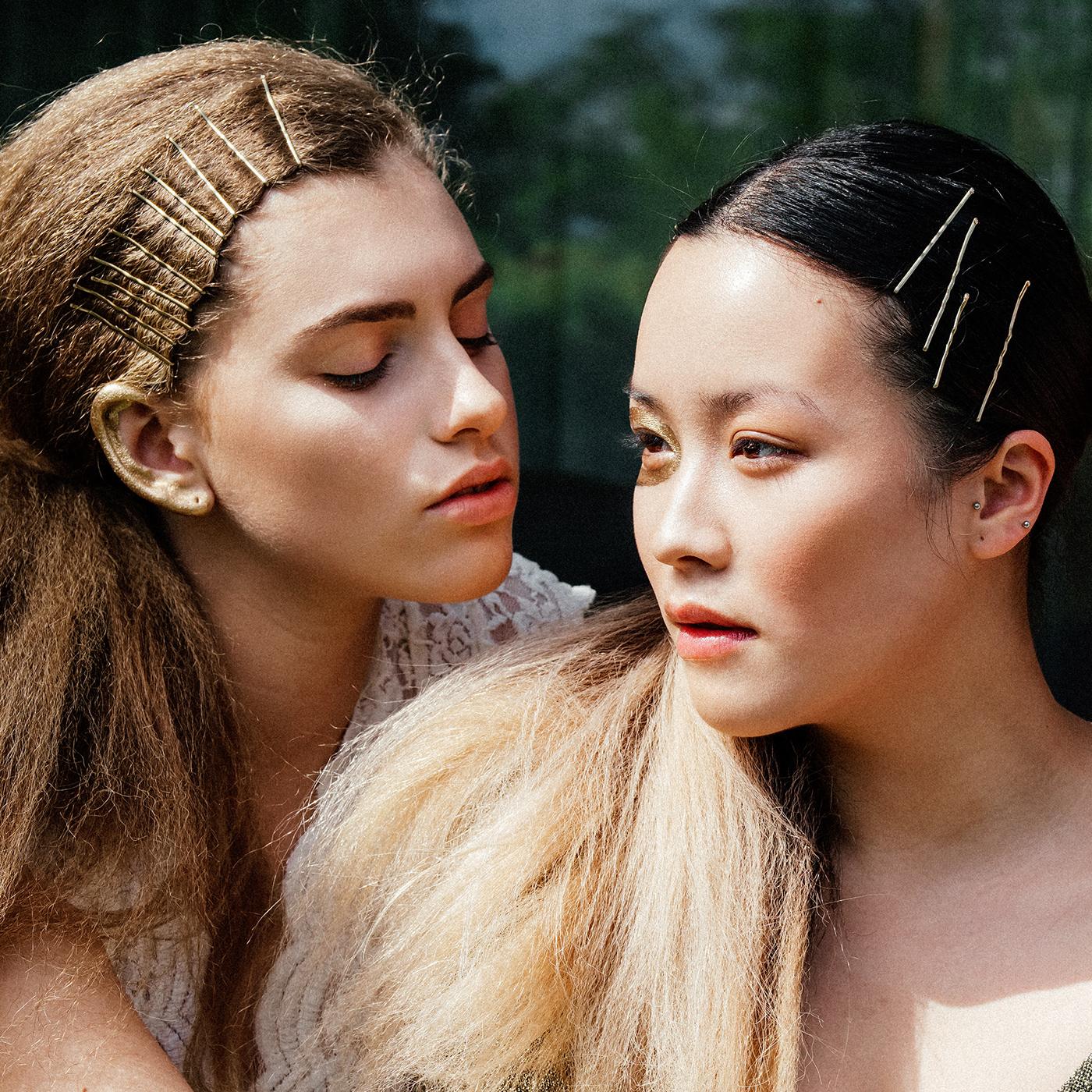 Fashion  editorial three graces lace