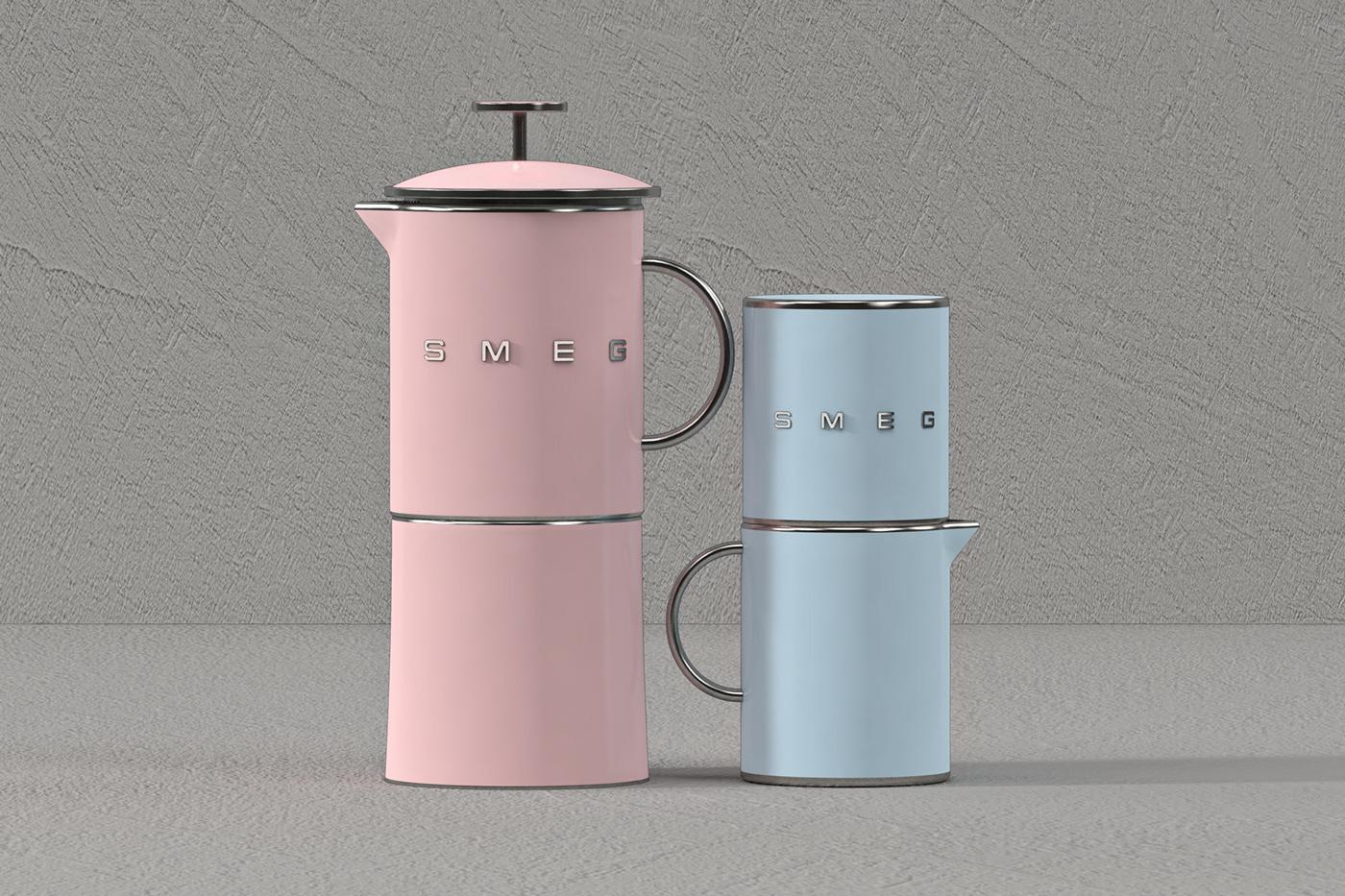 smeg product design  cinema4d 3D Render photoshop Illustrator homeware