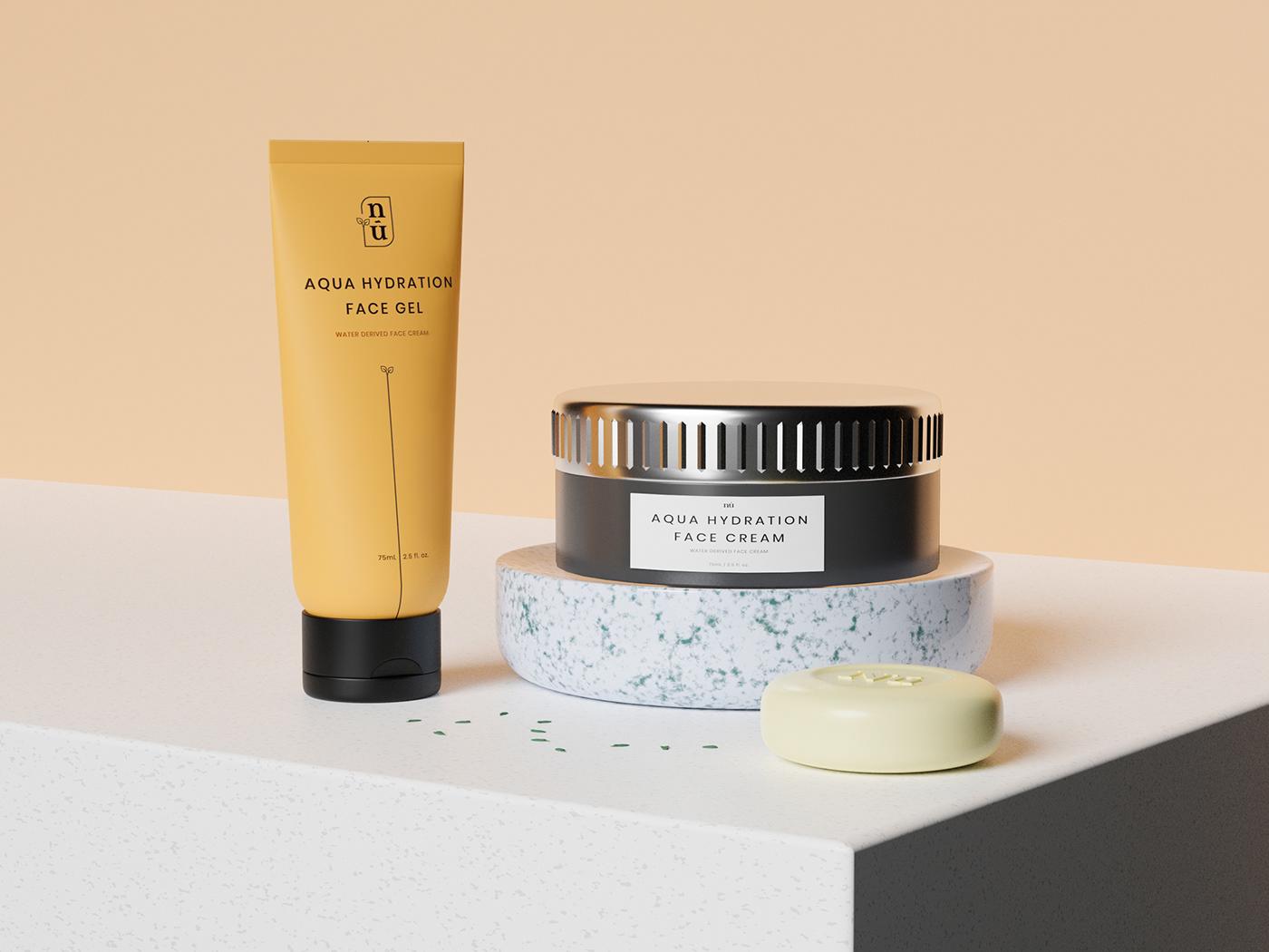 branding  clean cosmetics design makeup Minimalism naked nude Packaging skin care