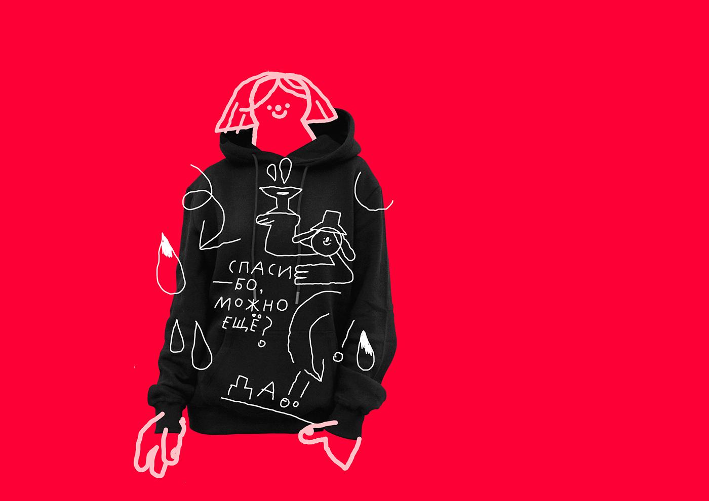 brand Clothing design Drawing  graphic design  hoodie design identity print textile design  vector