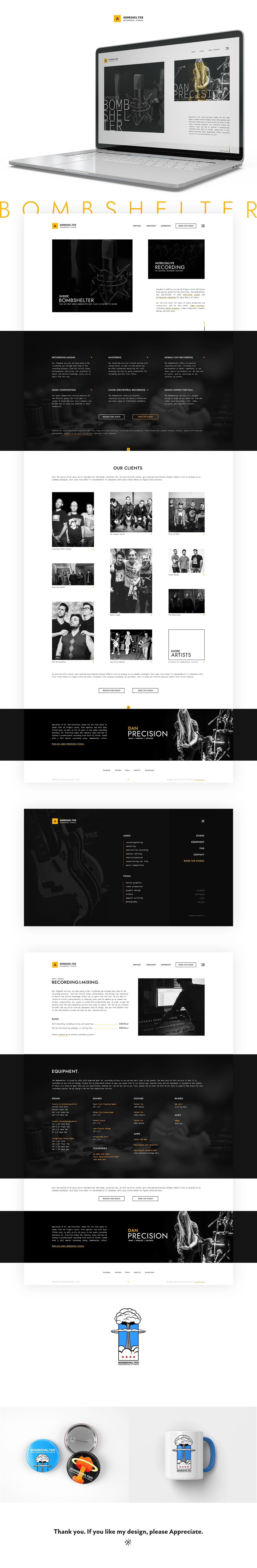 Bombshelter Recording Studio - Website design