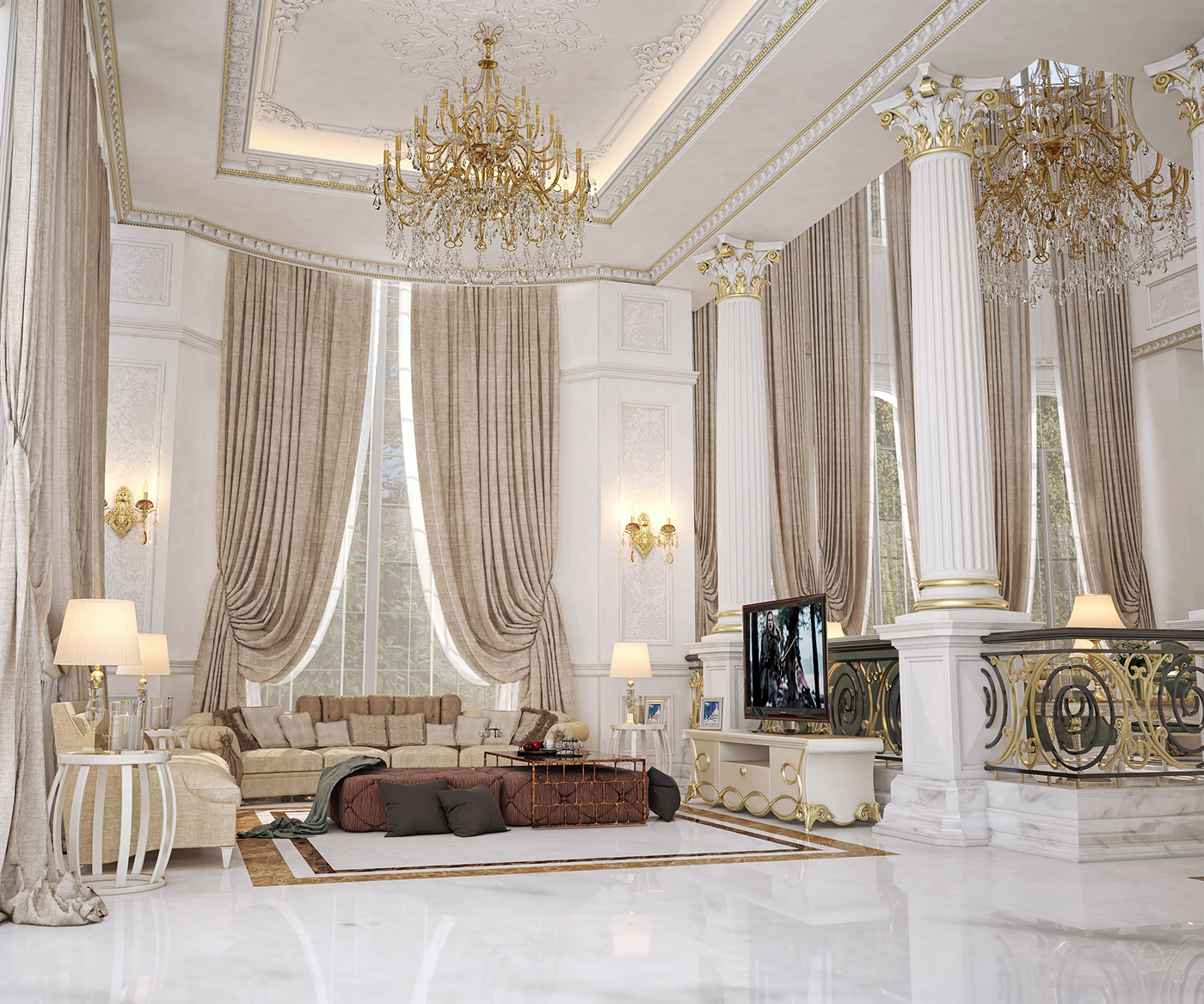 Main entrance hall design for a private villa at doha on for Classic villa interior design