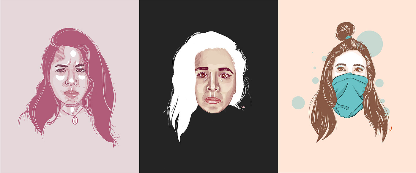 three different drawings of the same woman, lined up in a row