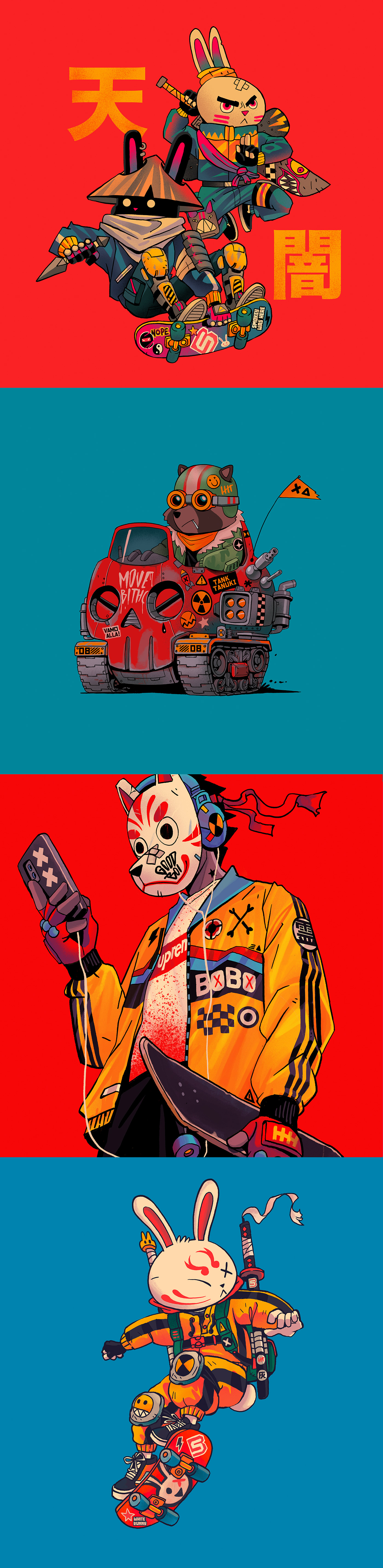 animal characters Cyberpunk Gaming japan Japanese Aesthetic katana neotokyo Retro skateboarding