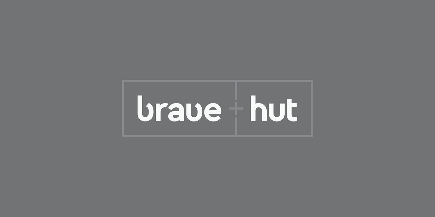 Brave hut agency logo letters typo red bold UI ux romania wordmak Logotype curve minimal
