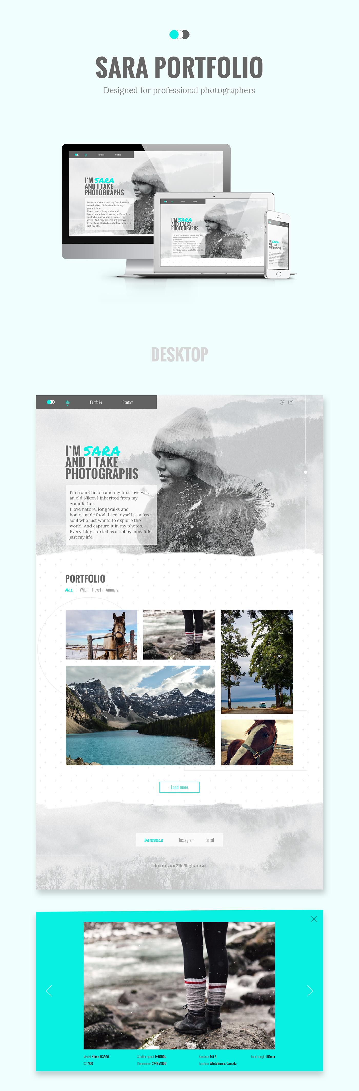 singe-page portfolio Photography  Web Design  template