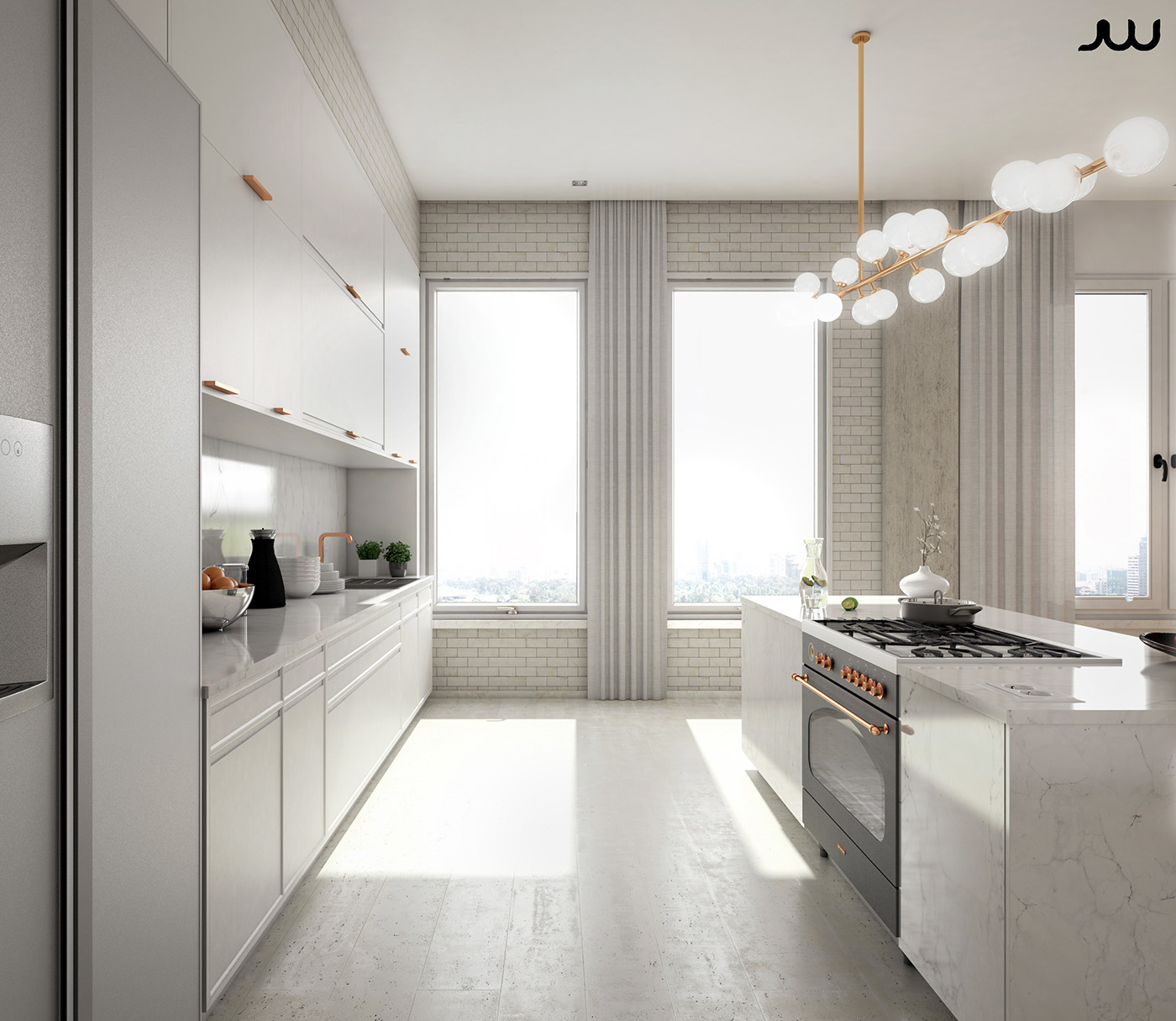 Central park view new york apartment cgi on behance for Apartment design new york