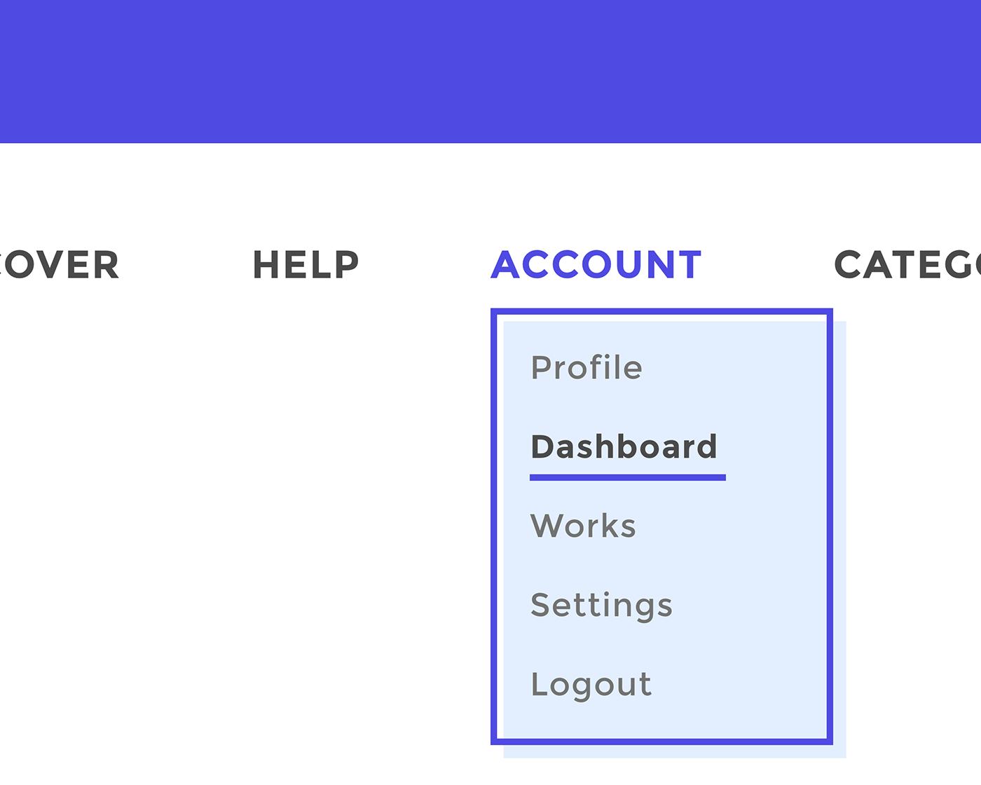 UI ux dropdown menu Web design minimalist Interface