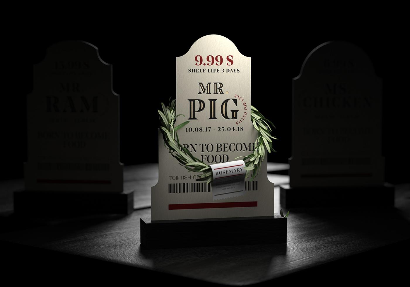 pig ram RIP chicken pork meat beef Packaging