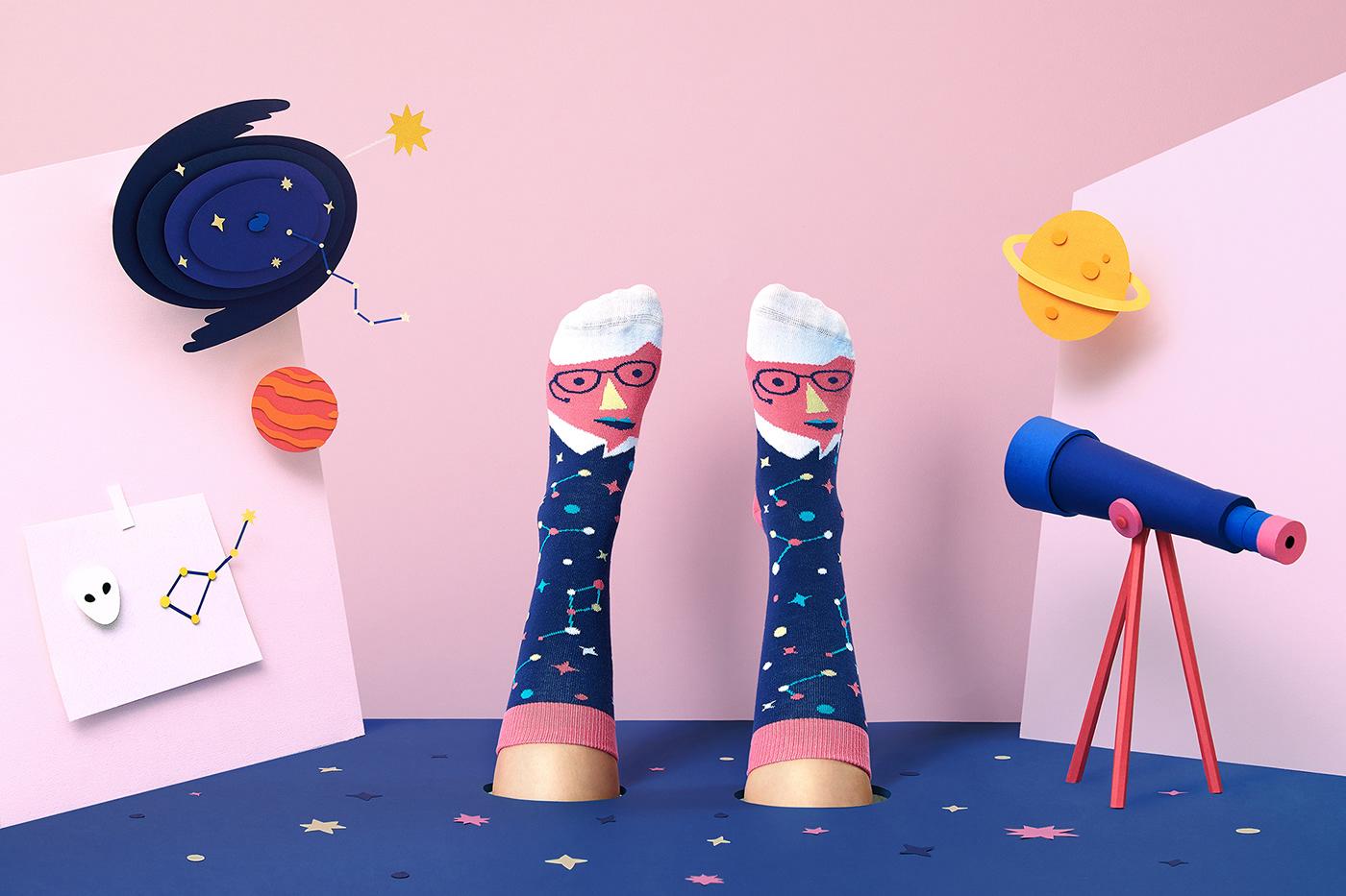 paper fashion photography paper art set design  Art Director paper artist ILLUSTRATION  Handmade Craft paper craft socks