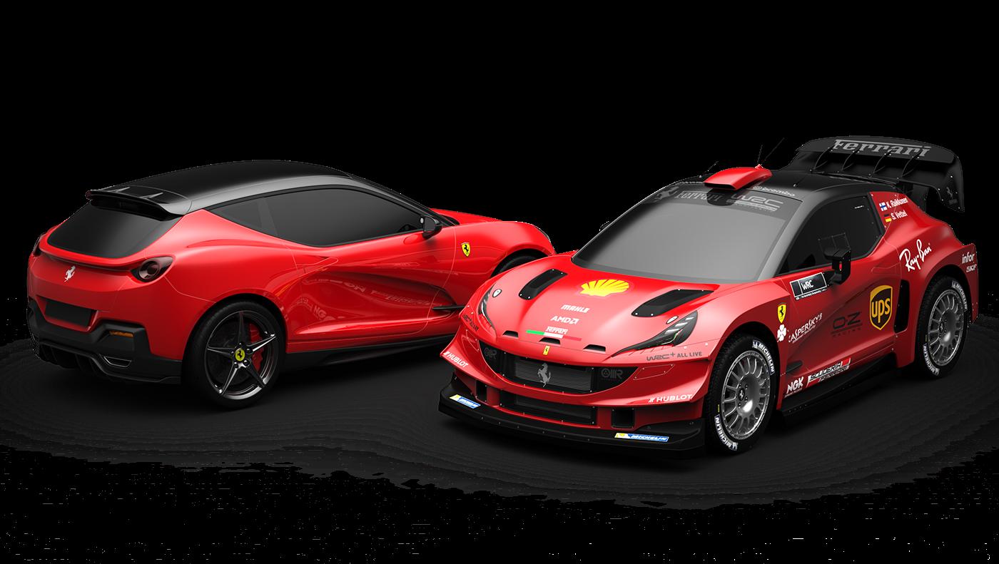 WRC FERRARI Hatchback Alias keyshot 3dmodeling rendering conceptcar car