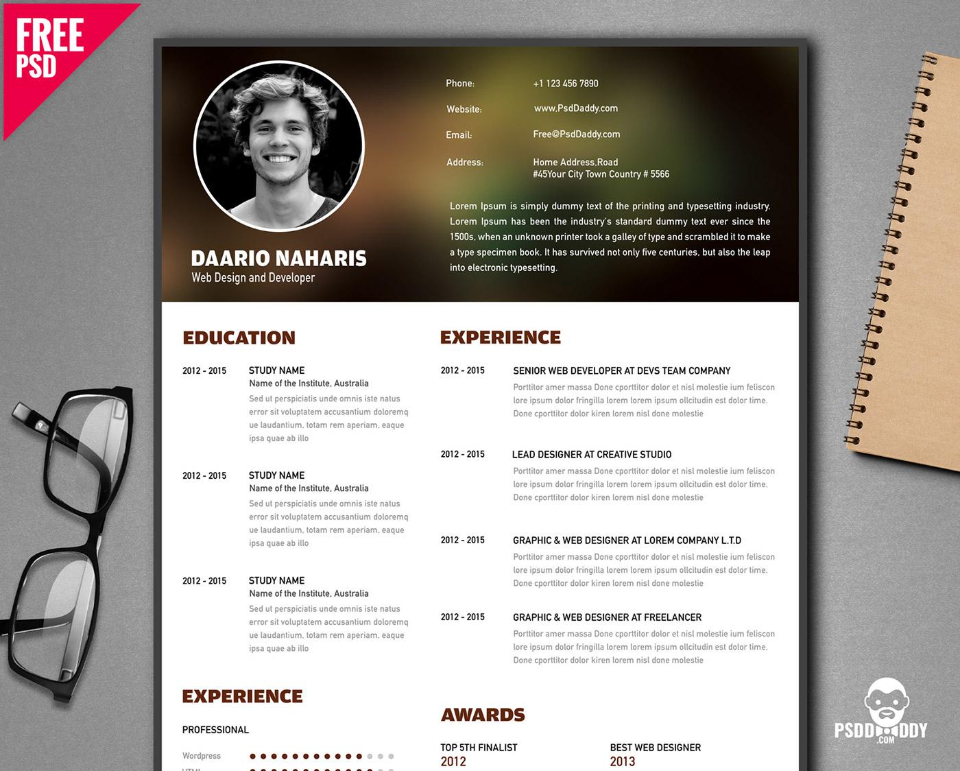 free creative resume template psd on behance