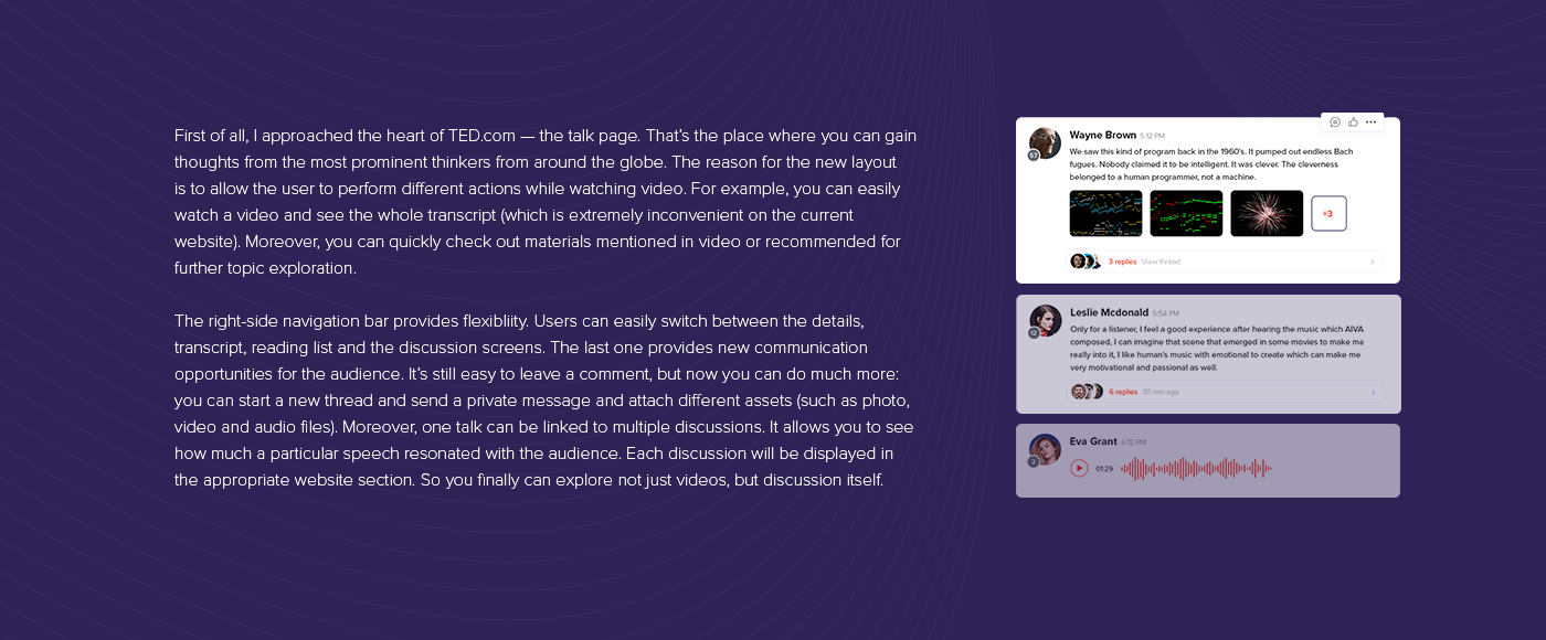 TED UI ux Interface talk Platform discussion redesign video Chat