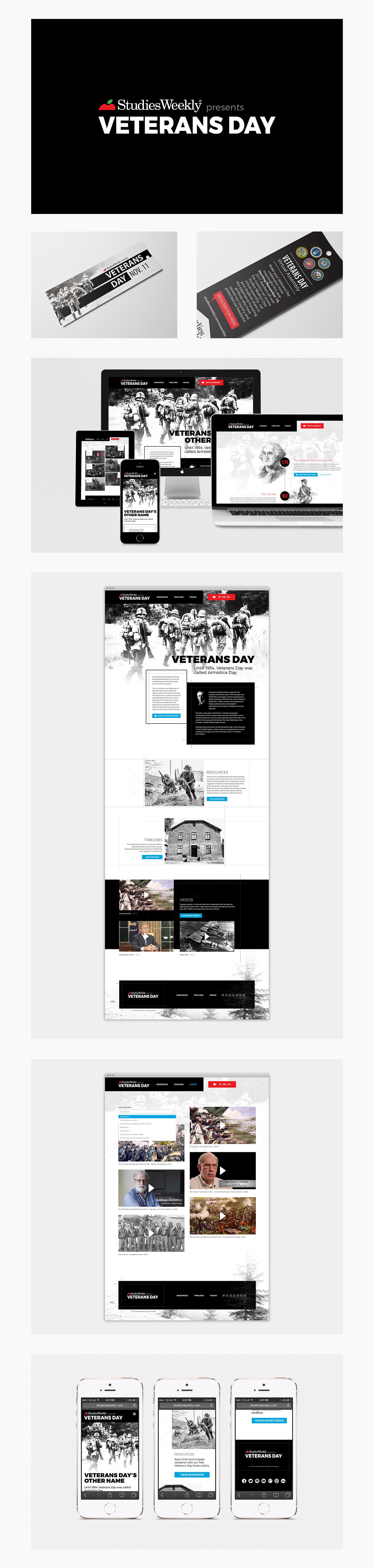 Website Design graphic design  branding  Education Veterans Day bookmarks