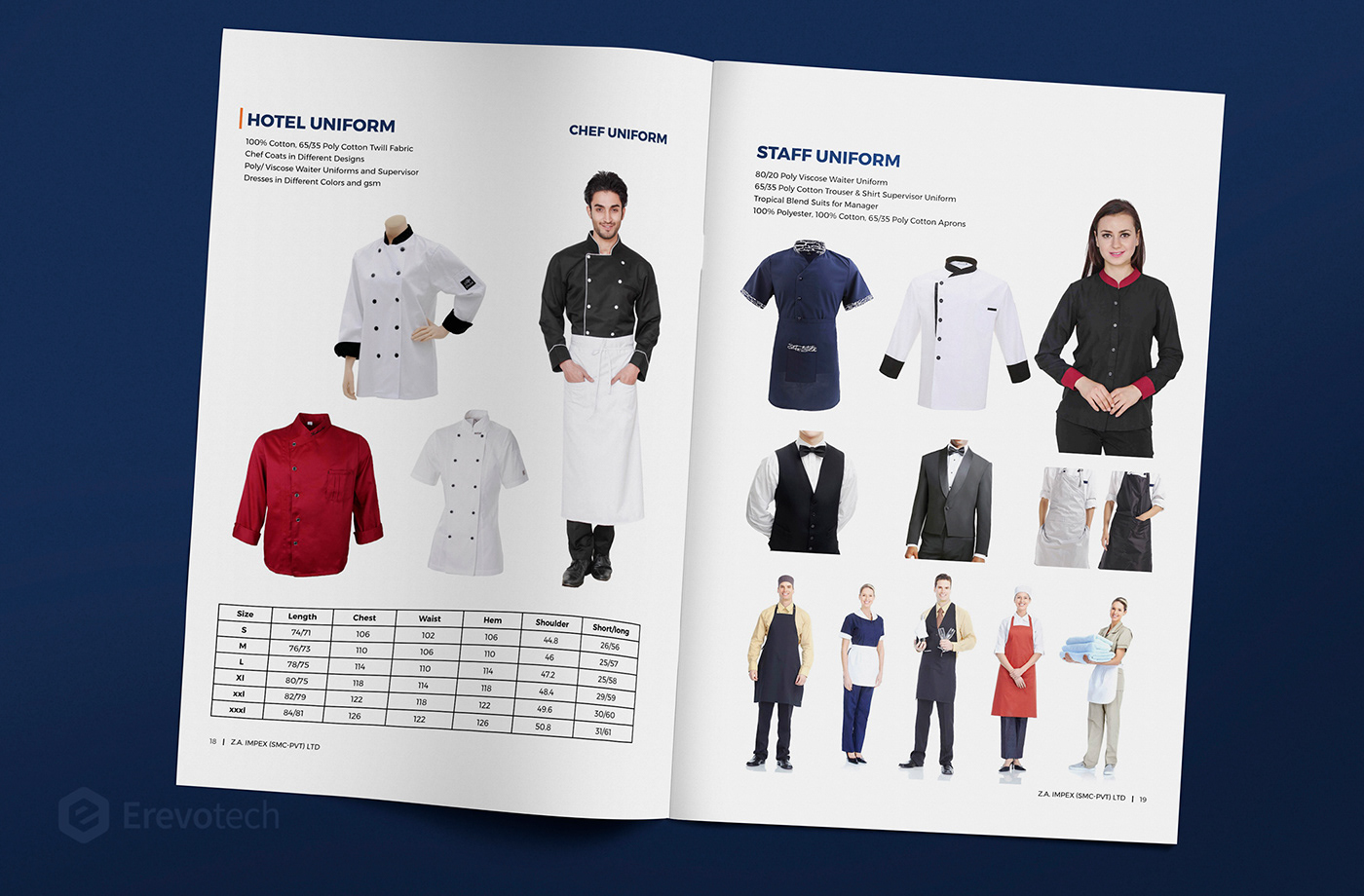 hotel uniform catalogue design