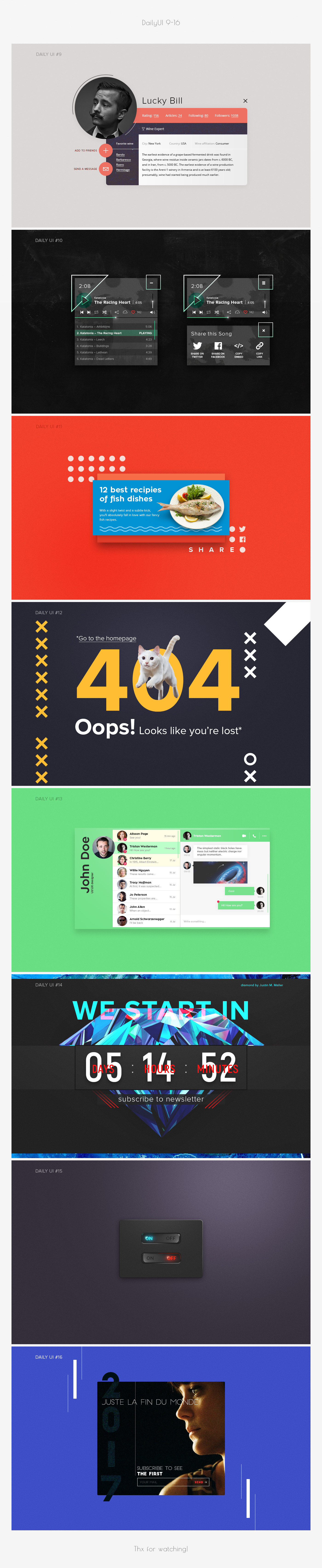 DailyUI,challenge,UI,Web,Popup,player,profile,page404,post