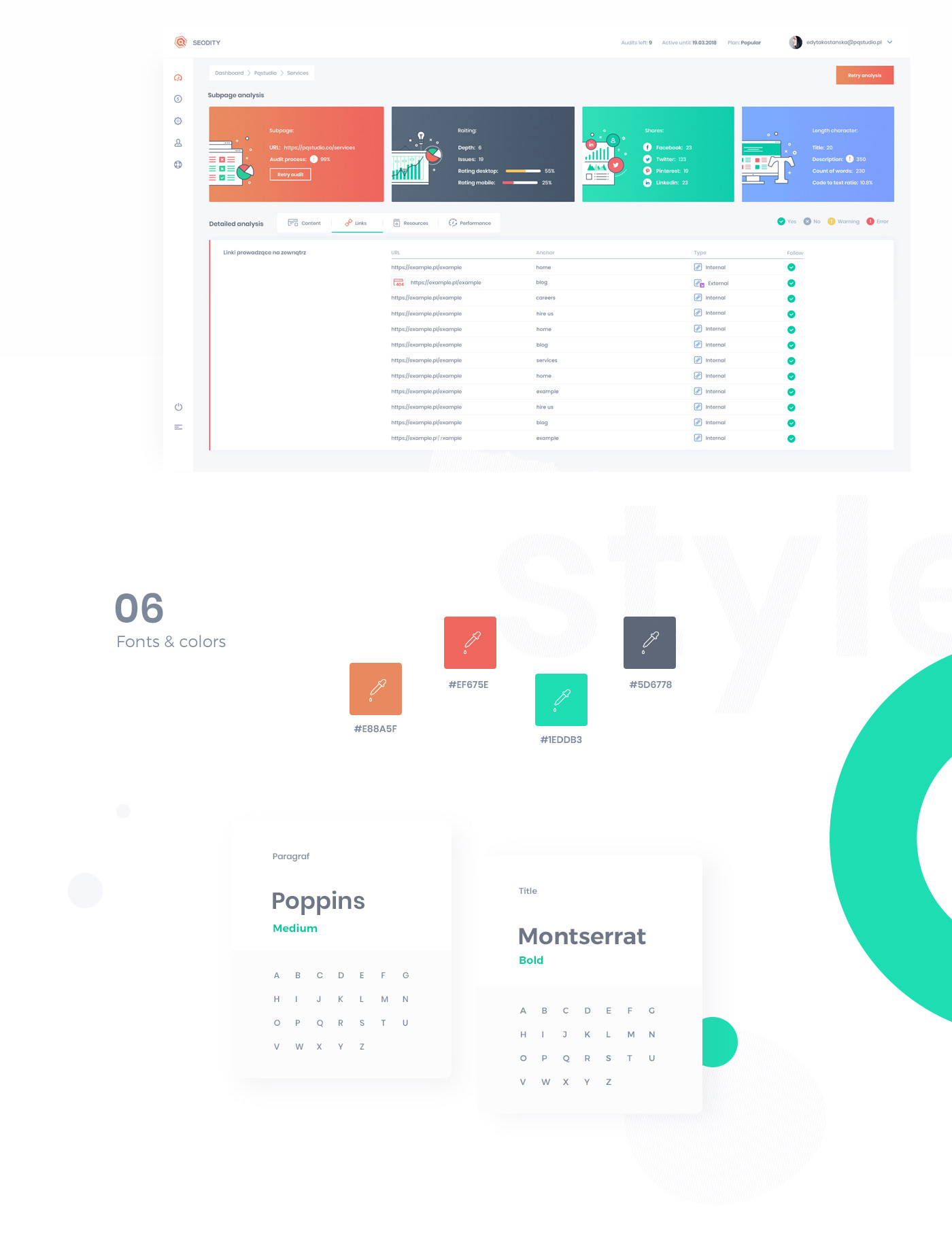 SEO design tool Analysis dashboard landing page Website Web Project animation