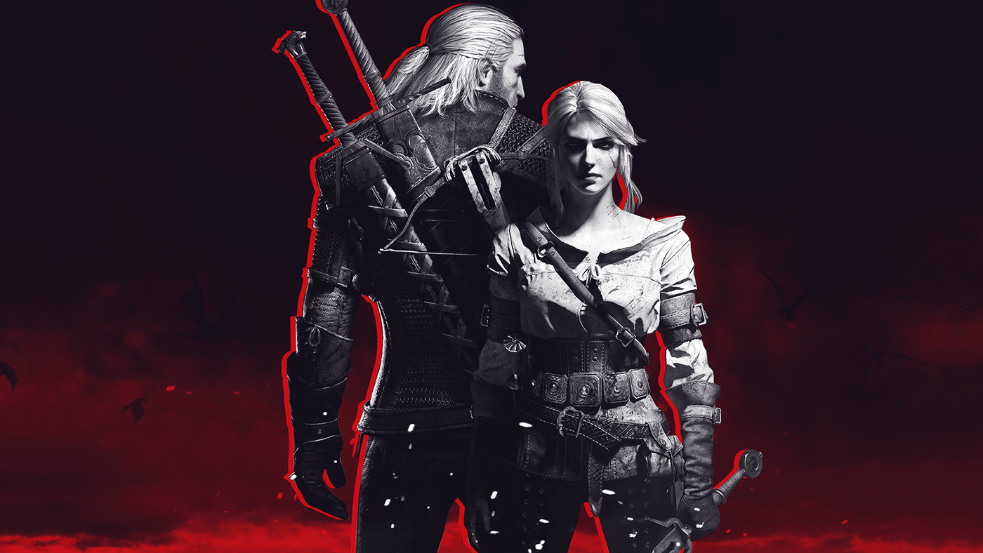 The Witcher III Wallpaper - Geralt and Ciri - Black and White with red highlights
