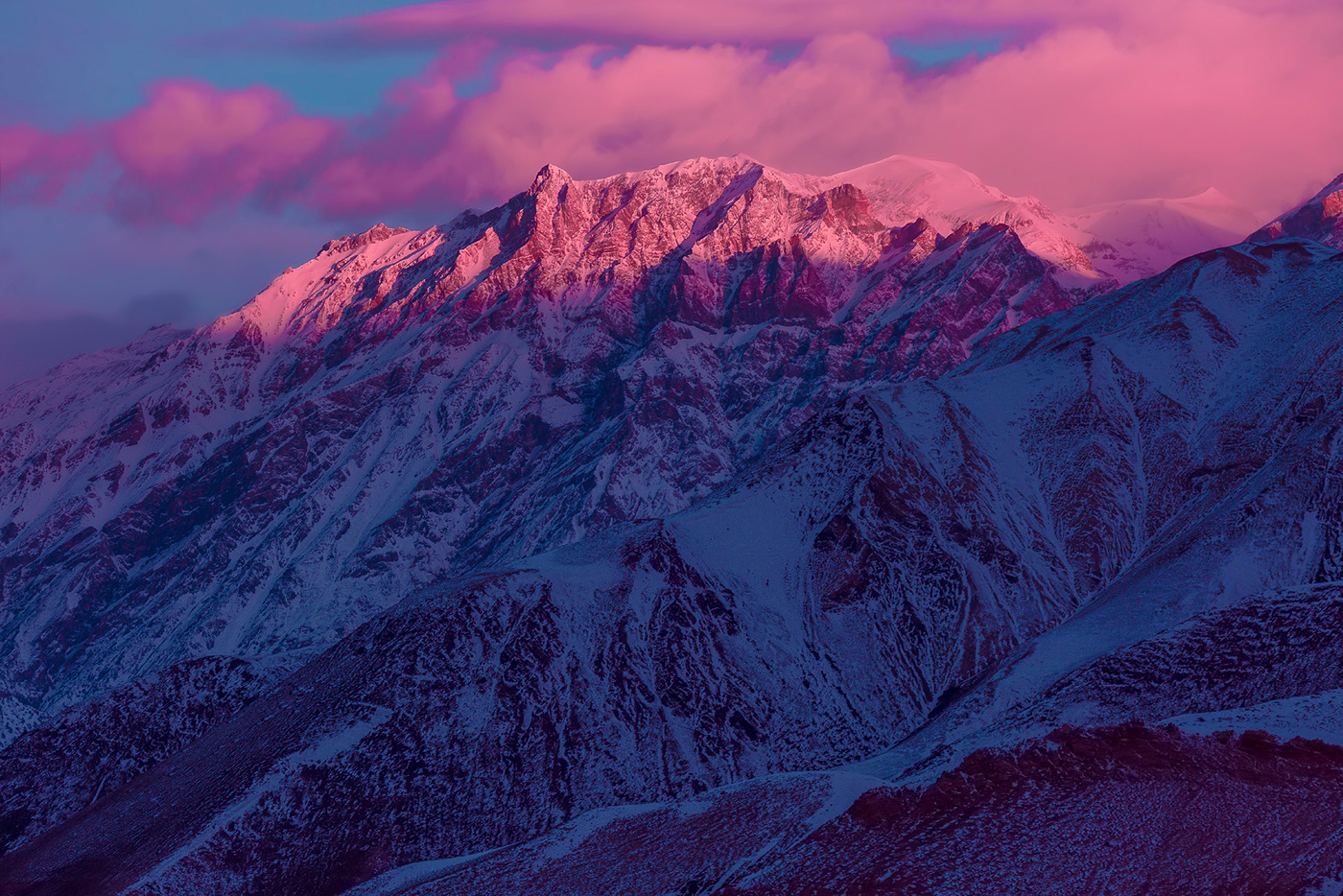 sunrise landscape in the himalayas, pink mountains