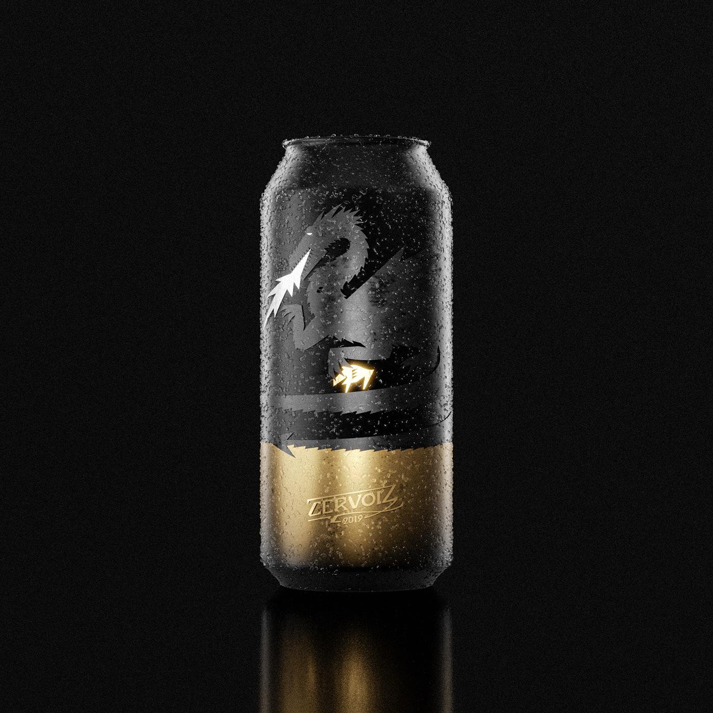 3D beer black Celtic Cervoiz creatures French gold legend Packshot