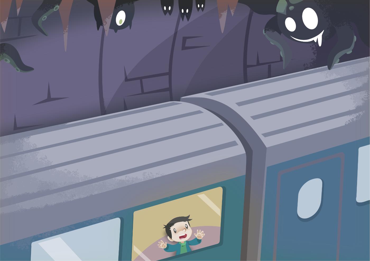 Contest Entry book illustration children illustration rossio lisboa monsters trains