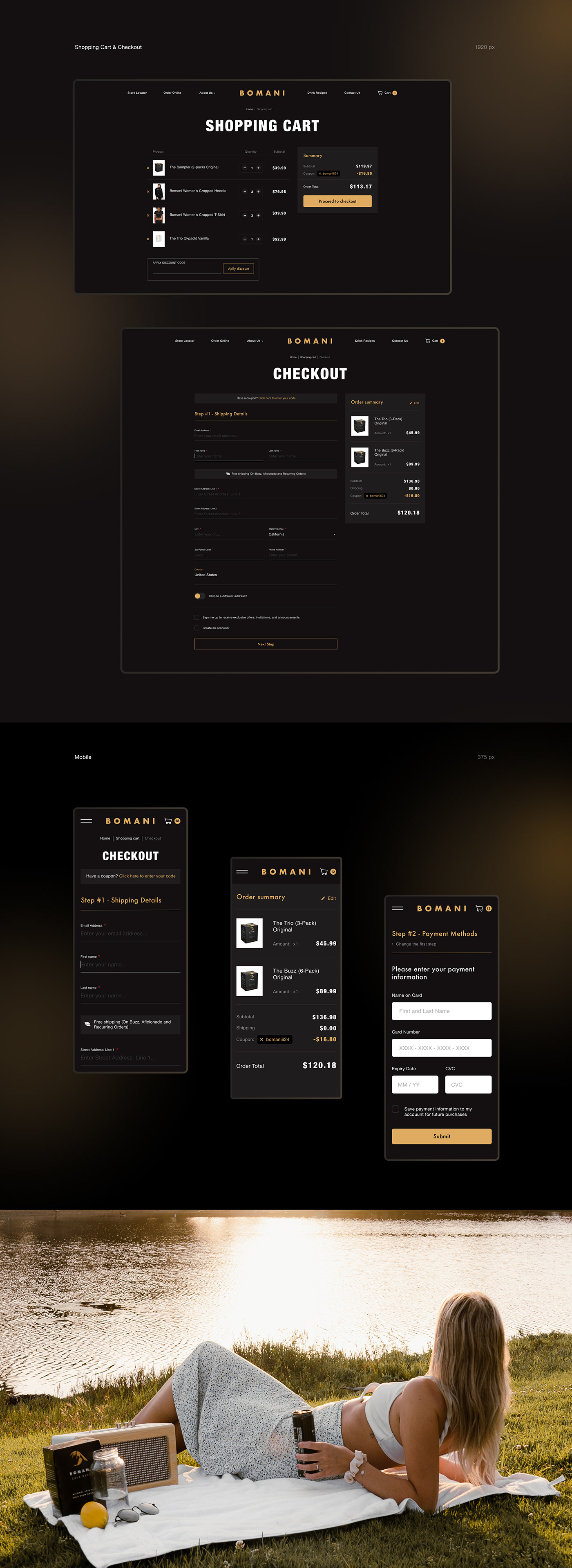 black e-commerce Fashion  luxury shop store typography   UI ux Website