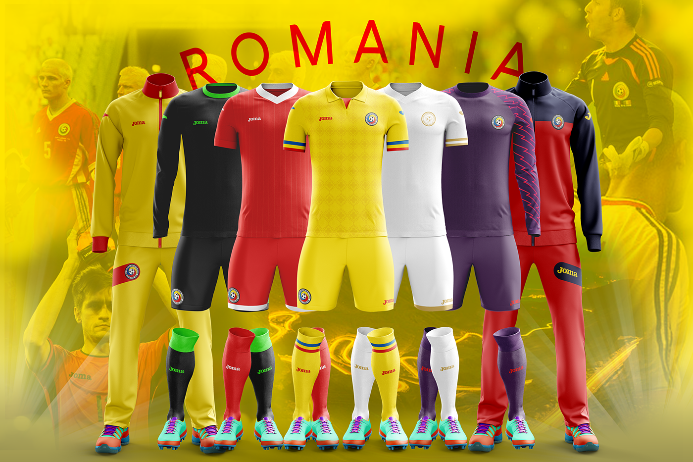 Romania x Joma - 2017-18 kits on Behance 8f5d38e60