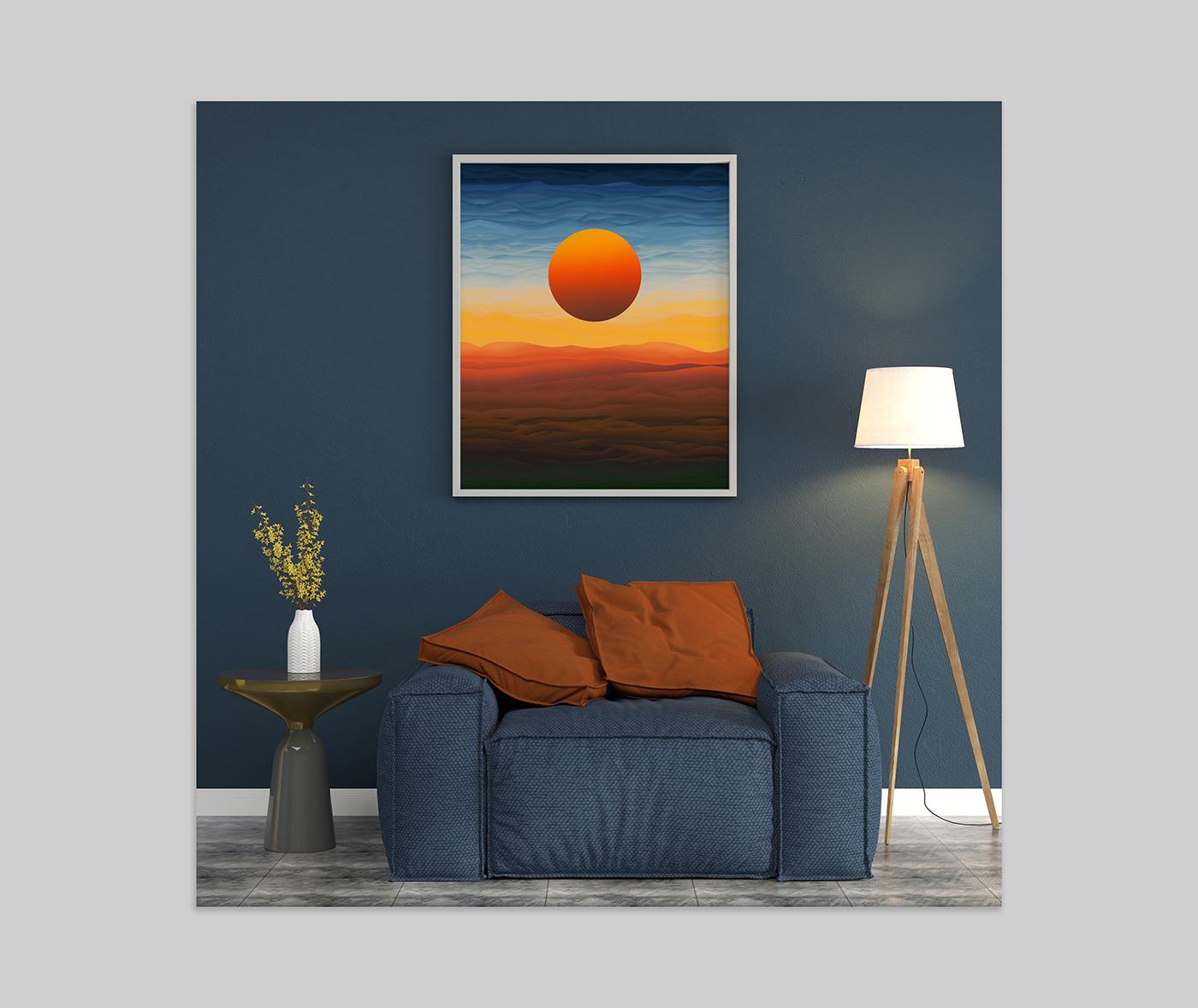 creative Digital Art  digital painting gradient ILLUSTRATION  mixed brush Nature postcard Poster Design print