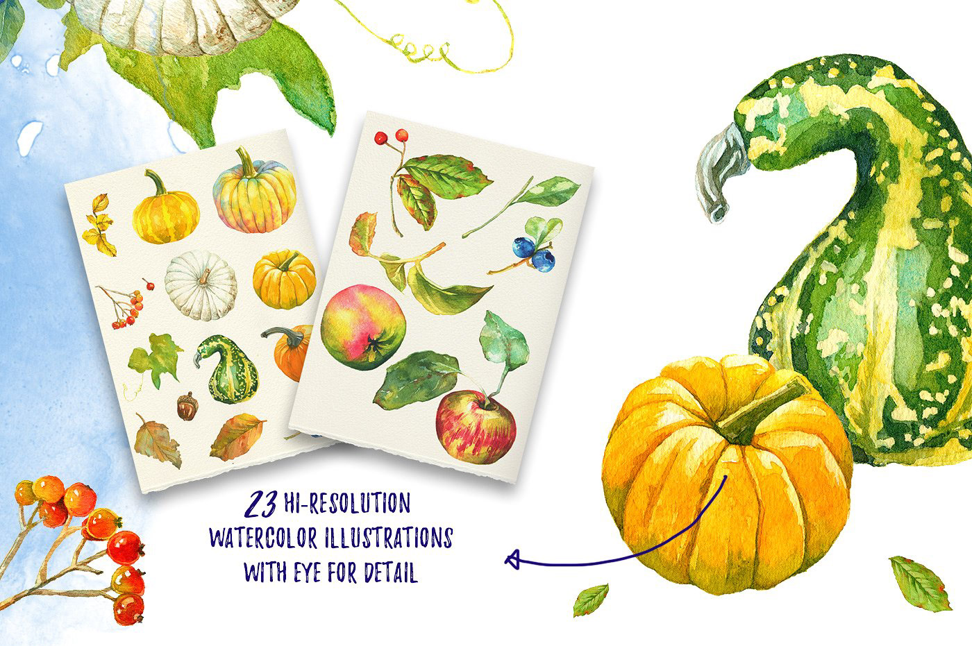 watercolor pumpkins berries leaves wedding autumn greeting cards decoration