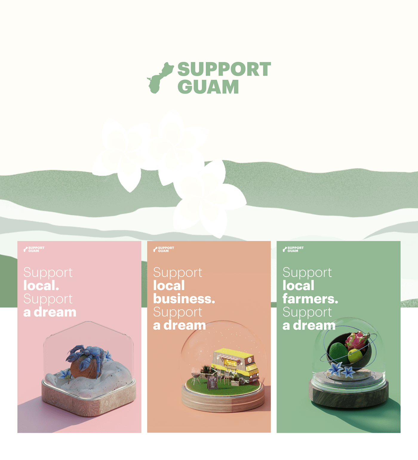 3D Guam local modelling poster Render support