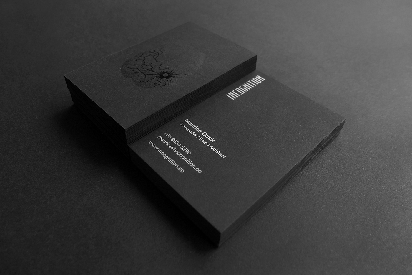 Incognition identity on behance on the business card the brain scan visual was printed in black on a 380gsm sirio 80 black card with a spot uv finish on the fracture lines magicingreecefo Image collections