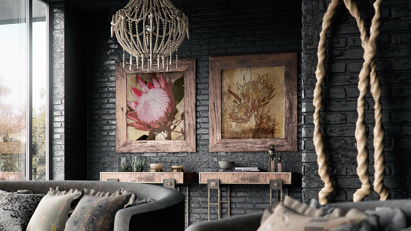 VRayforC4D Scene Files   African Interior Design Scene On Behance