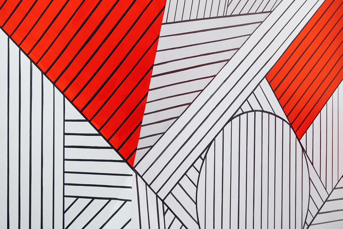 Mural SuperGraphics pattern asian environmental graphics graphic design  graphics Mural Painting