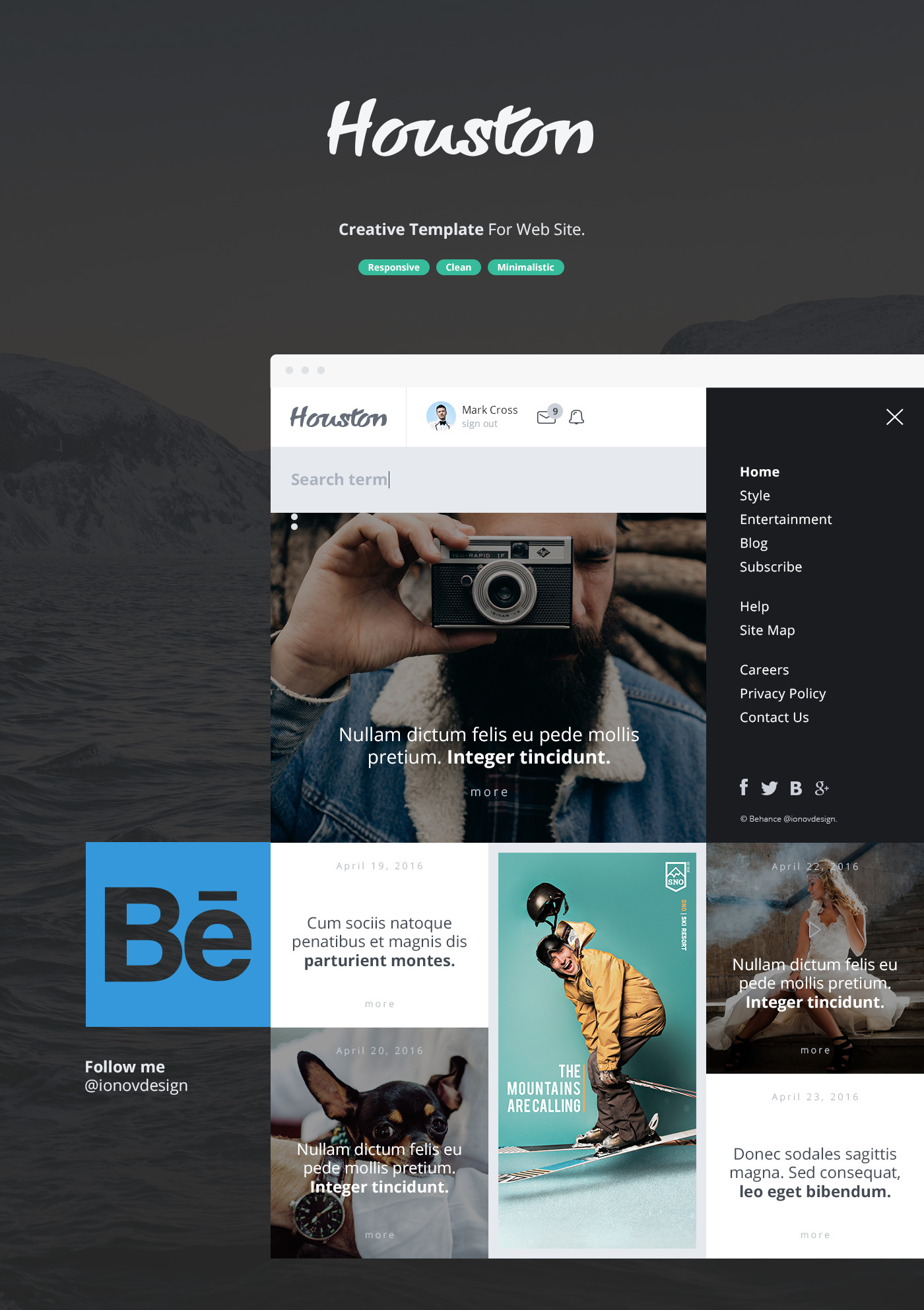 Houston - Creative Template For Web Site on Behance