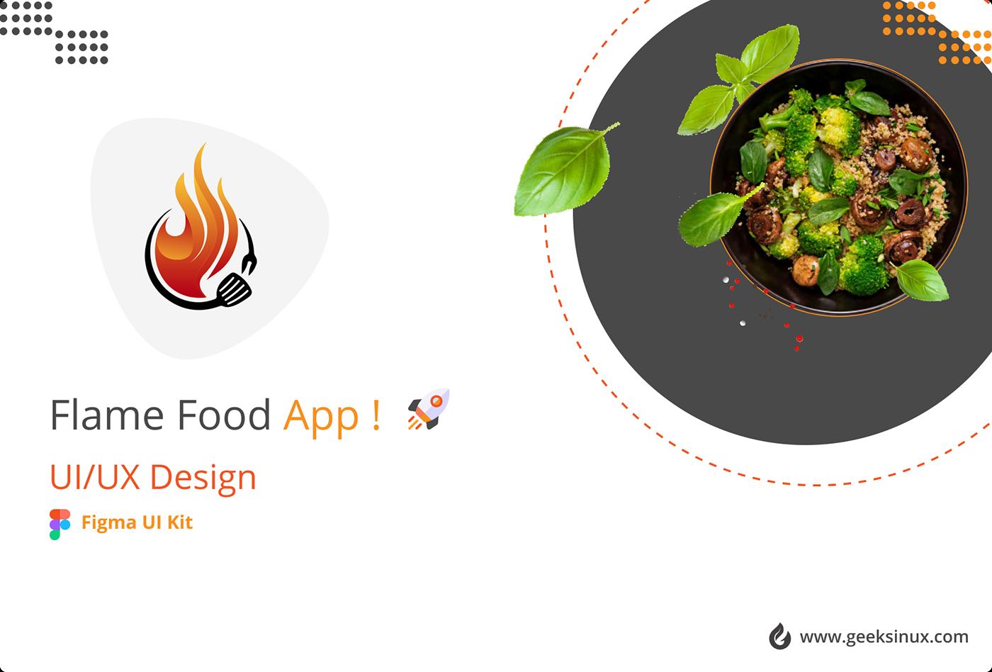 Flame food app flame food App case study food app case study food app ui kit food delivery app Food ui kit geeksinux Interaction design  Muhammad Nawaz Rizvi uiux