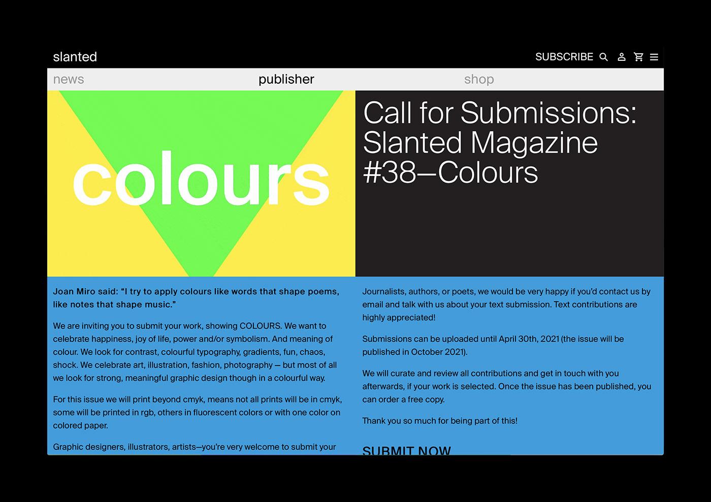 colori colours slanted magazine