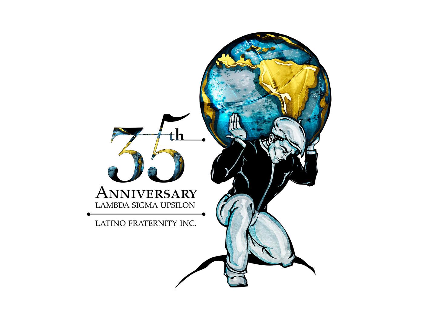 LSU Lambda Sigma Upsilon latino Fraternity logo emblem 35th anniversary brand