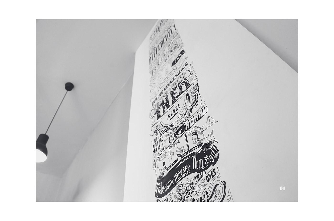 steve Jobs tribute typography   wall paint apple typo