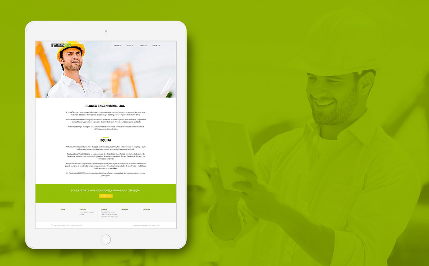 Engineering  Web Design  web development  simple green Helmet timeline mobile Responsive
