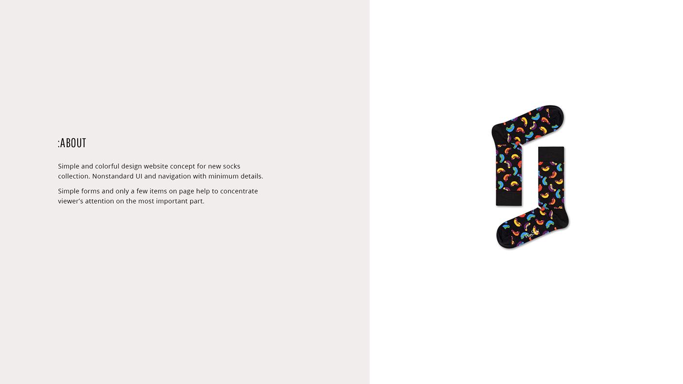 Website store socks promo UI ux minimal colorful bright sock
