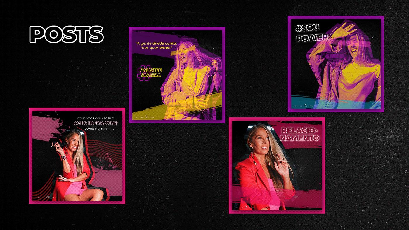 adriane galisteu Conceito visual design Graphic Designer neon neon wave publicidade social midia visual concept Web Design