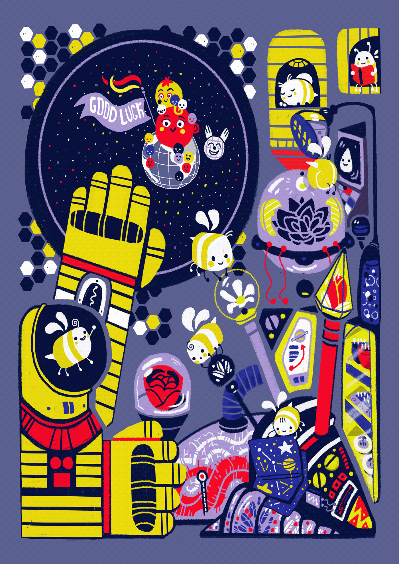 bees cosmos ILLUSTRATION  Space  spaceship