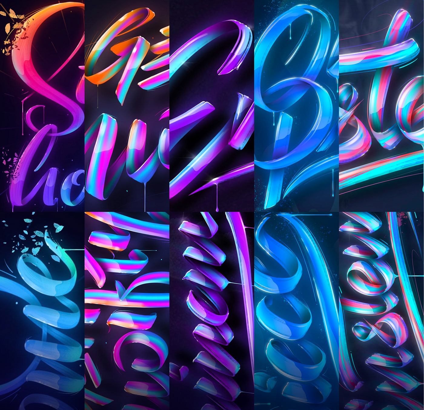 Calligraphy   colorful Digital Art  digital calligraphy graphic design  iPad Lettering lettering strokes type design typography