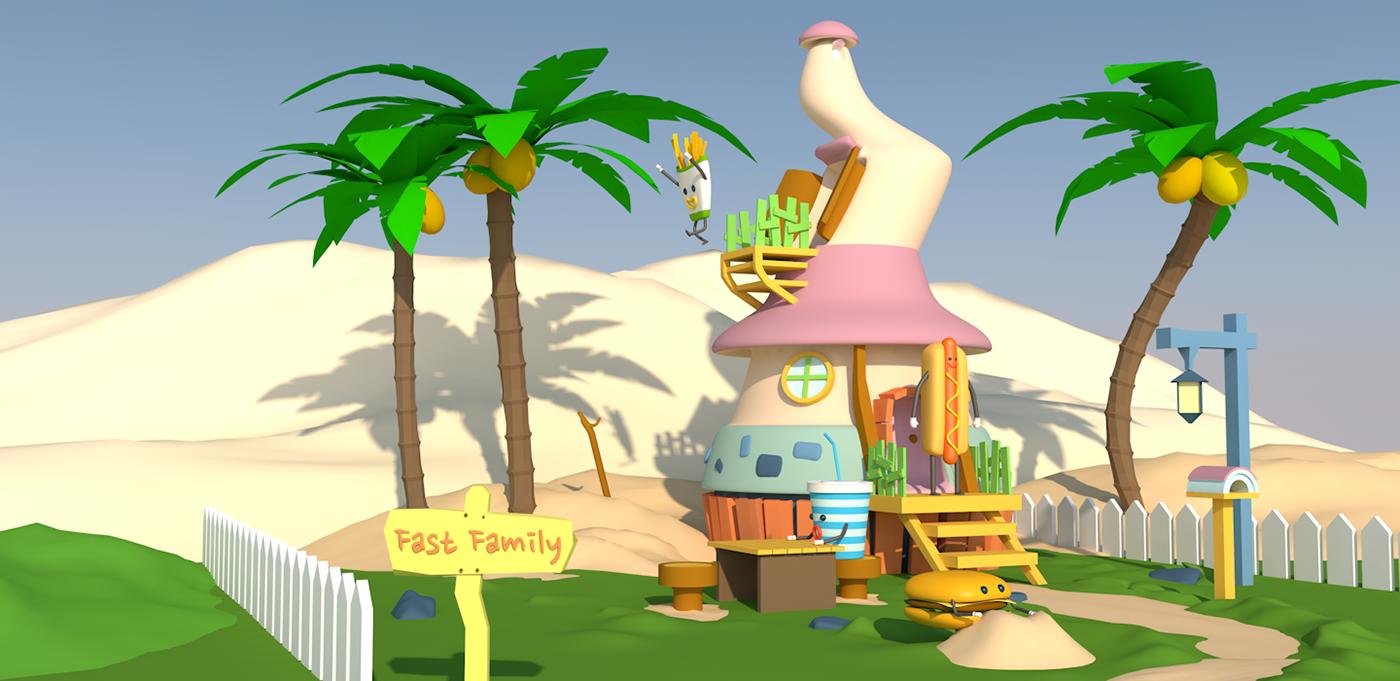 cinema4d 3Dillustration Webdesign c4d lowpoly 3D CG