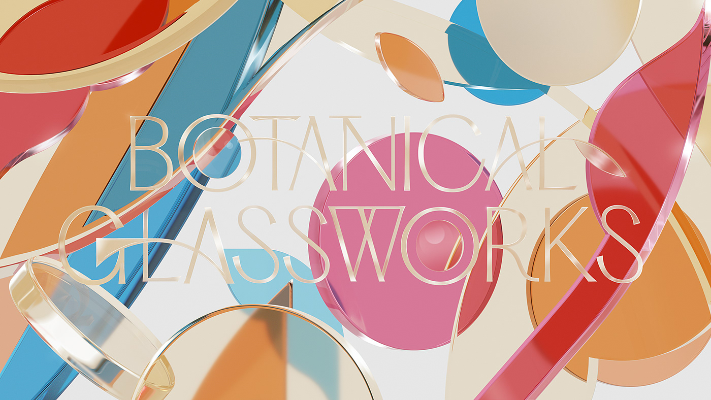 3D abstract botanical glass octane plants