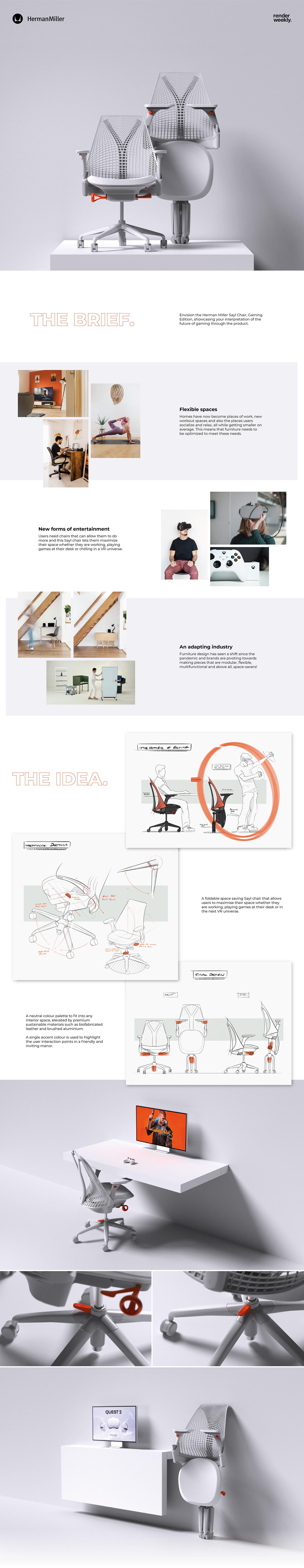 chair Entertainment Gaming Herman Miller industrial design  Interior Office Render sketching Virtual reality