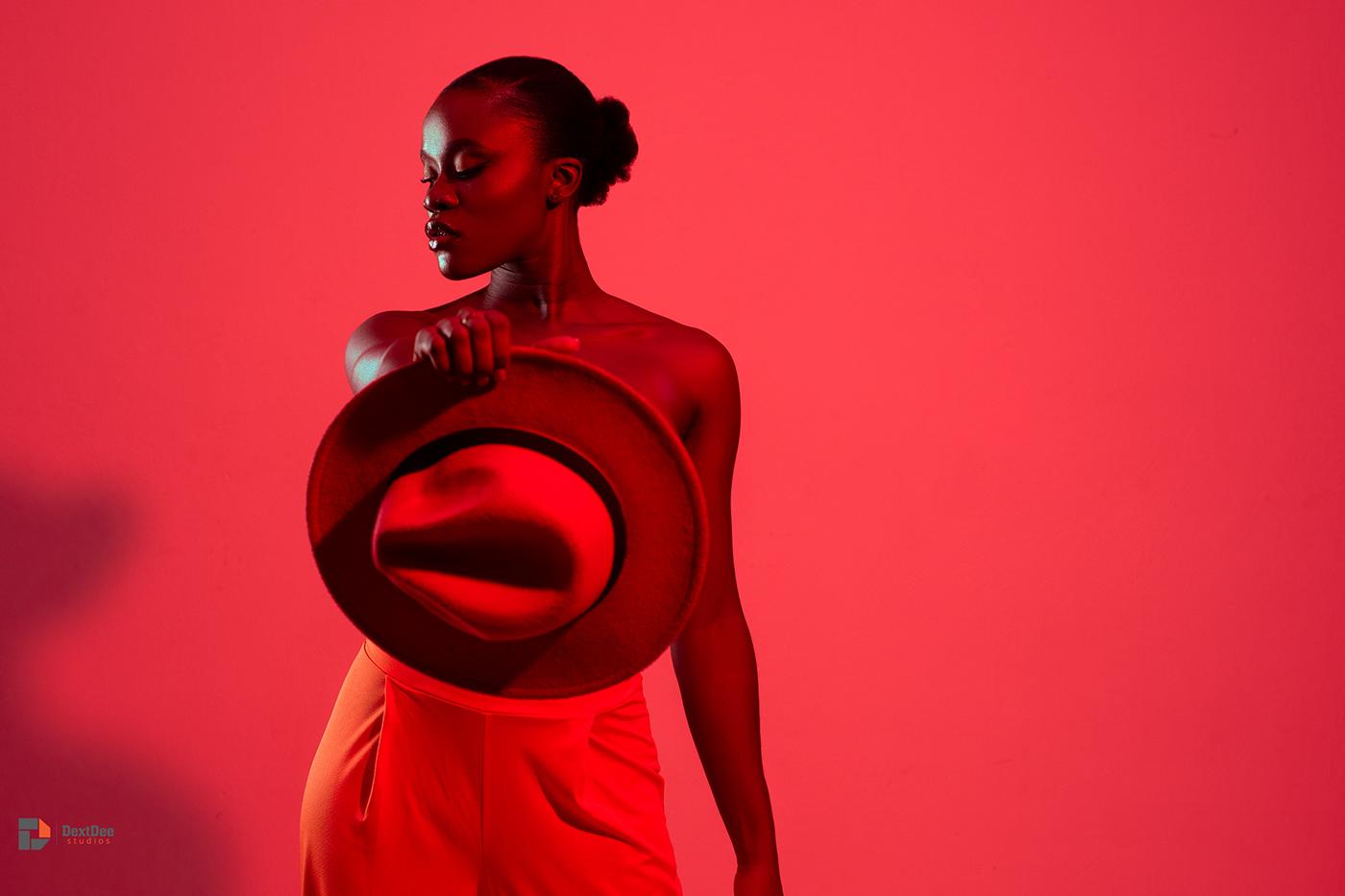 color DextDee Studios Ghana hat red shade woman